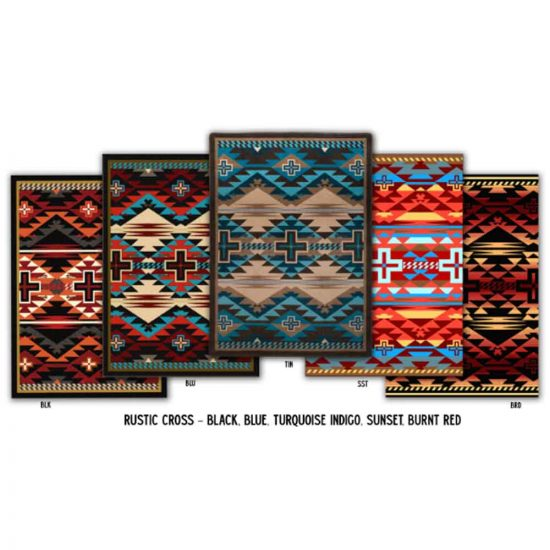 Rustic Cross area rug is available in 5 colors