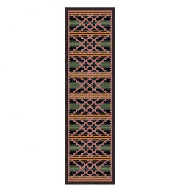 Southwest 2x8 rug in green and pink
