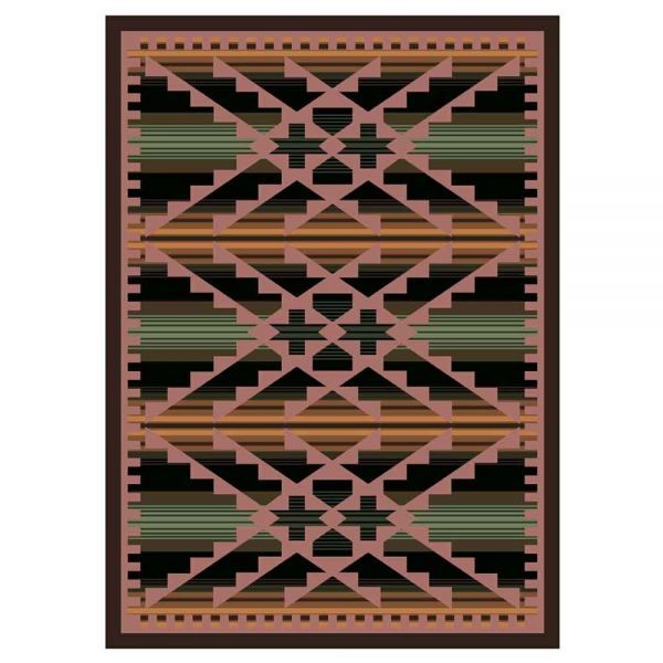 Saddle Blanket inspired Southwest rug in green and pink
