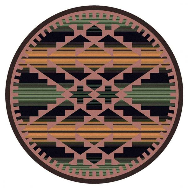 8ft round rug with a Southwest design inspired by saddle blankets