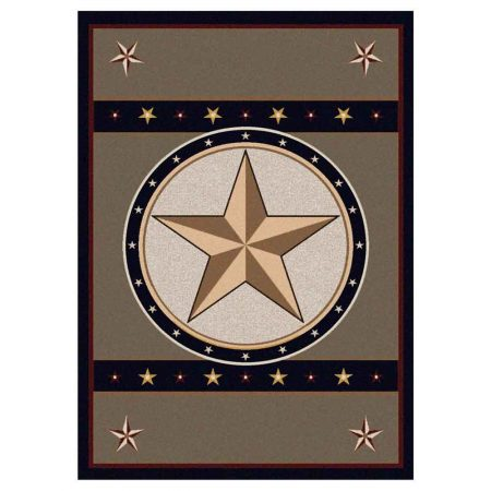Area rug with large gold star in the center and sage green background