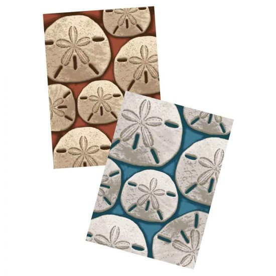 Rugs with sand dollar print in aqua and coral