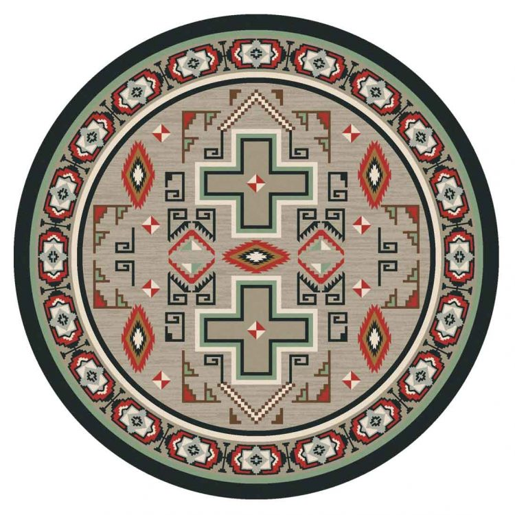 Tan round area rug with Southwestern and cross prints and red and muted green accents