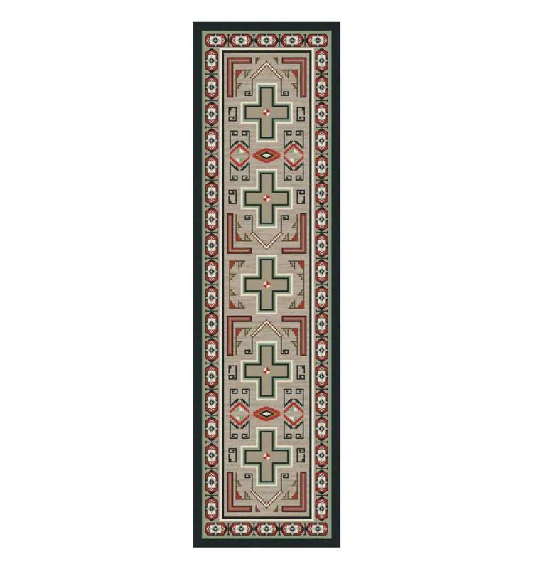 Tan rug with red Southwest prints and cross design
