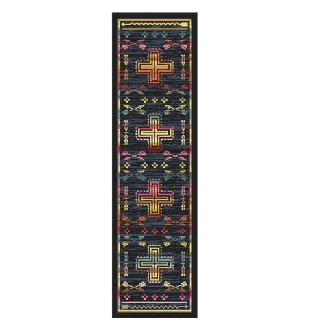 Rug with multicolor crosses and arrows on a dark denim blue background