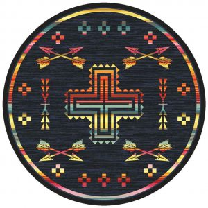 Multicolor round area rug with a denim blue background and a cross and arrow pattern in rainbow shades