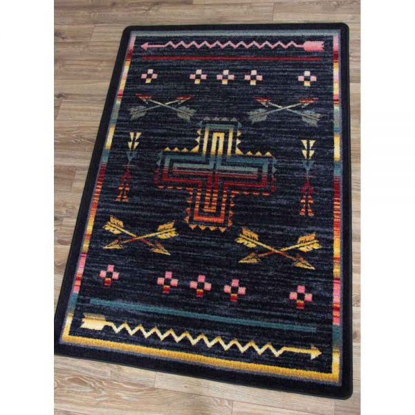 Southwest rug with a cross and arrow design