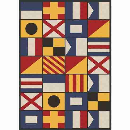 Nautical flags multicolor area rug