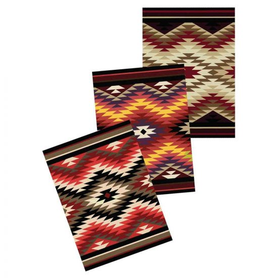 Southwest rug with diamond print available in 3 color options