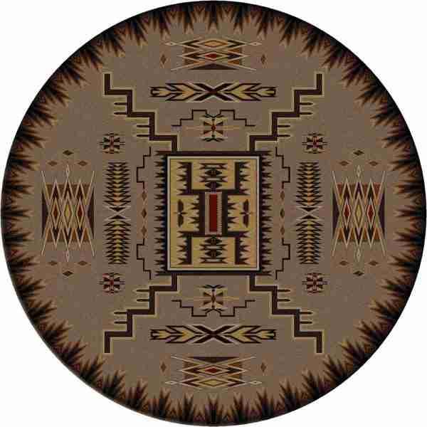 Light gray round rug with black Southwest print