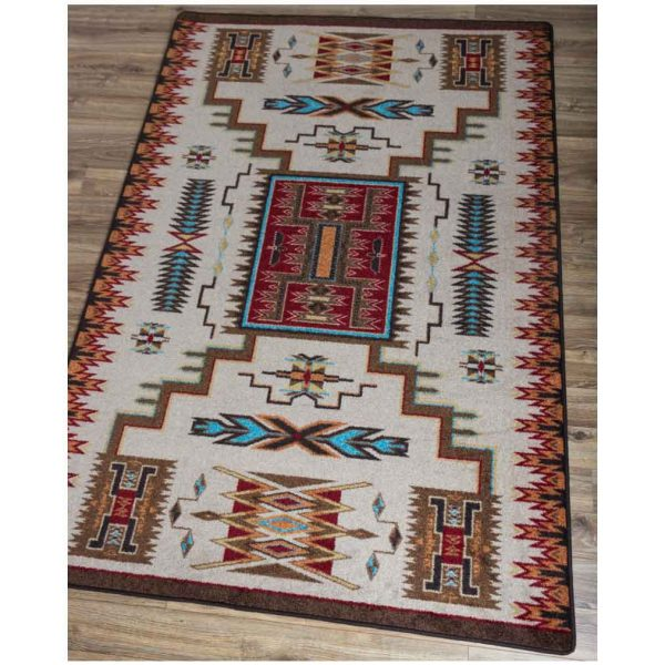 Southwest beige, rust, and red area rug
