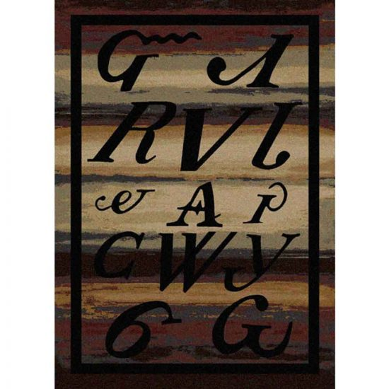 Brown rug with Cherokee letters design