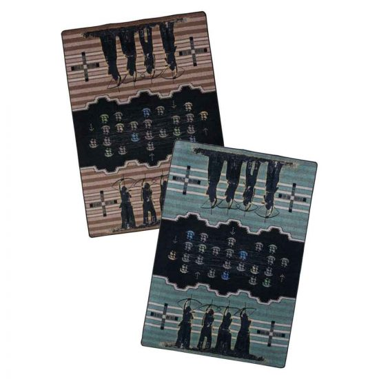 Invaders rug is available in blue or brown
