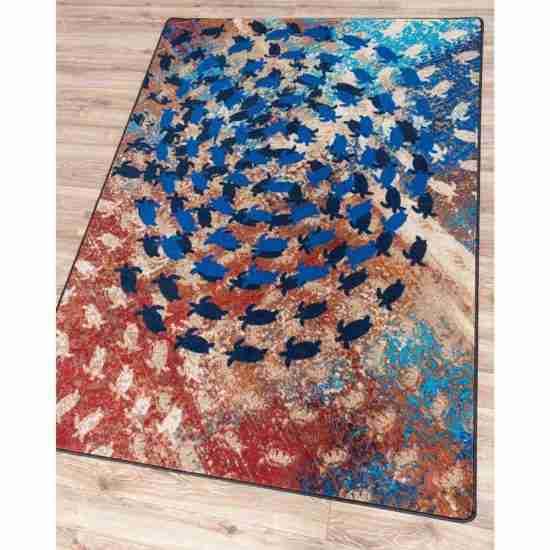 Multi color sea turtles print area rug