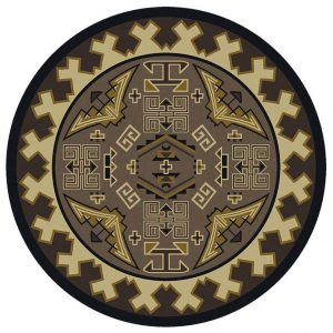 Round rug in neutral with a Southwestern pattern
