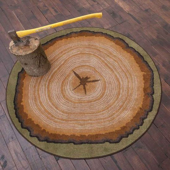 Round area rug with a wood slab print