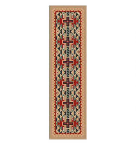 Runner rug with native American print in red and turquoise