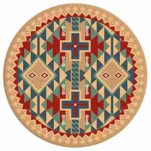 Colorful Southwest round area rug