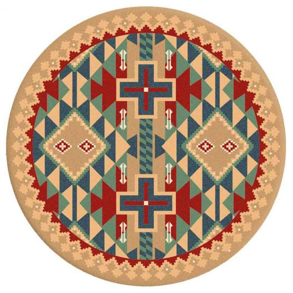 Colorful Southwest round area rug