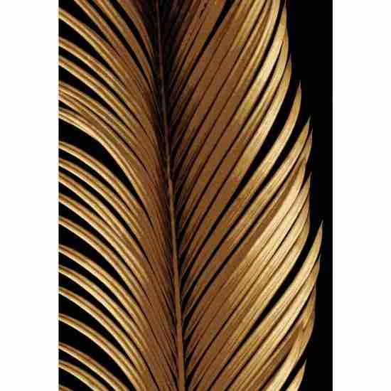 Gold Palm Leaf on black background rug