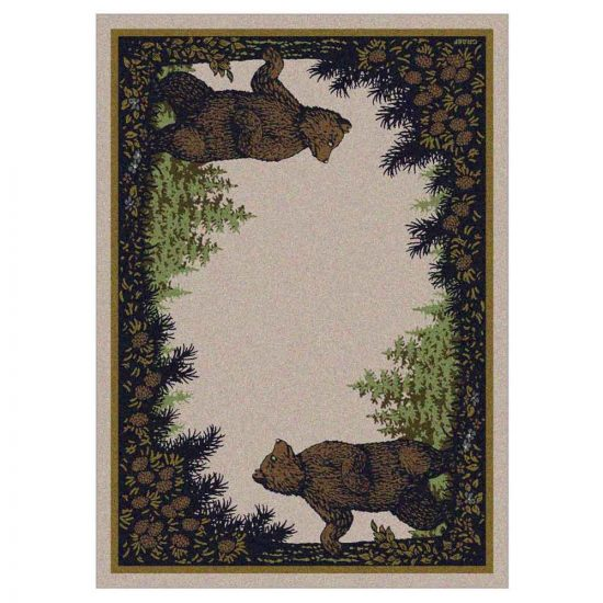 Rustic rug with a tan background and a border with bear and pine cones prints