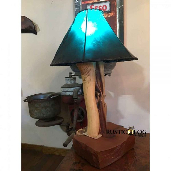 Rustic Log Table Lamp with turquoise rawhide shade