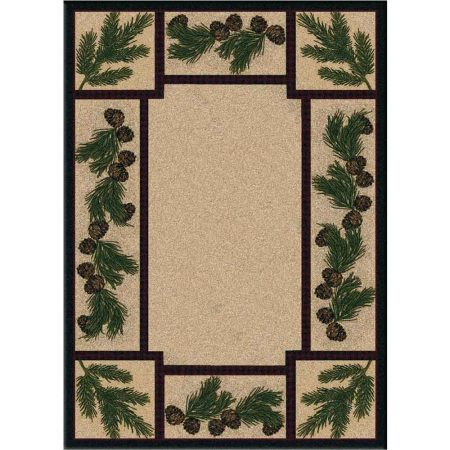 Tan area rug with a detailed pine cone print border