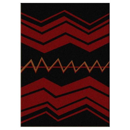 Rug design with bold red zig zag stripes on black background
