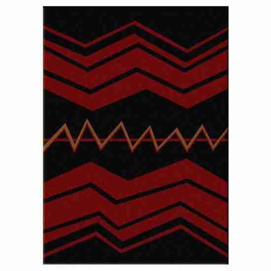 Rug design with bold red zig zag stripes on black background