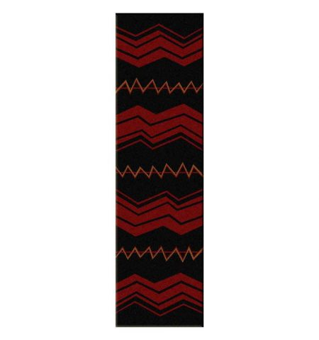 2x8 runner rug with red stripes on black background
