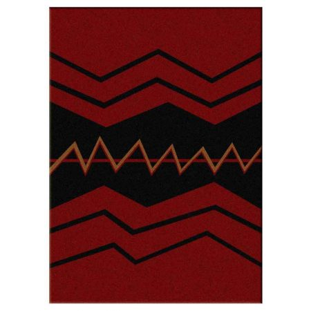 Red area rug with clean bold stripe print