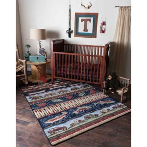 Multicolor rustic area rug in a boy's nursery