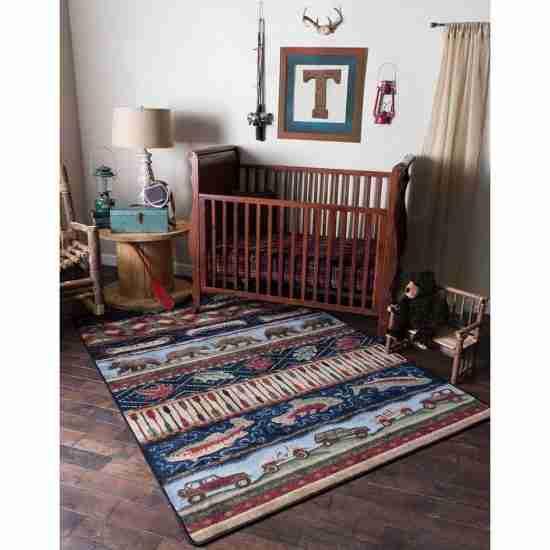 Multicolor rustic area rug in a boy's nursery