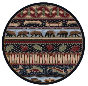 Round rug with a lodge print in red, green, and blue