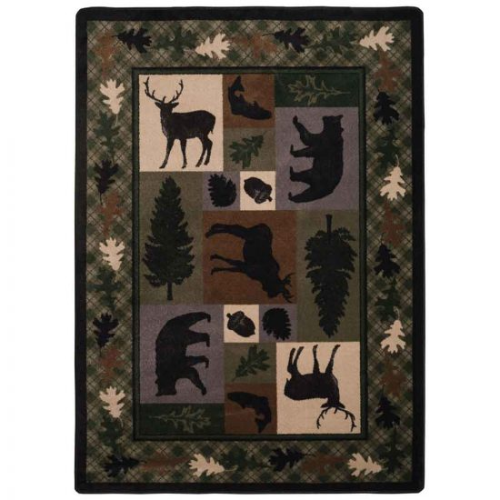 Forest green cabin print area rug