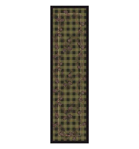Green plaid and pine cones area rug