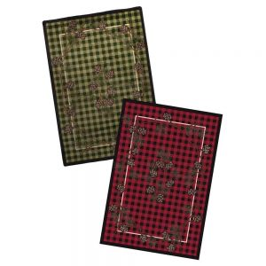 Rustic plaid and pine cones print rugs in red and green