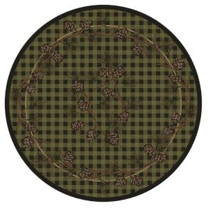 Green plaid round lodge-style rug with pine cones design