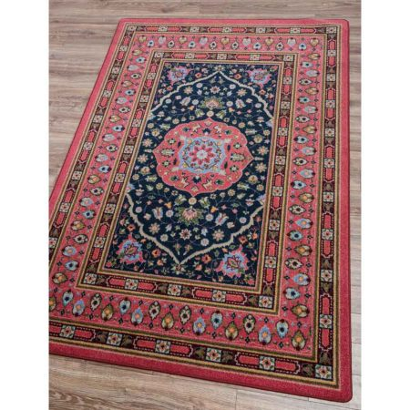 Pink And Navy Persian Style Area Rug