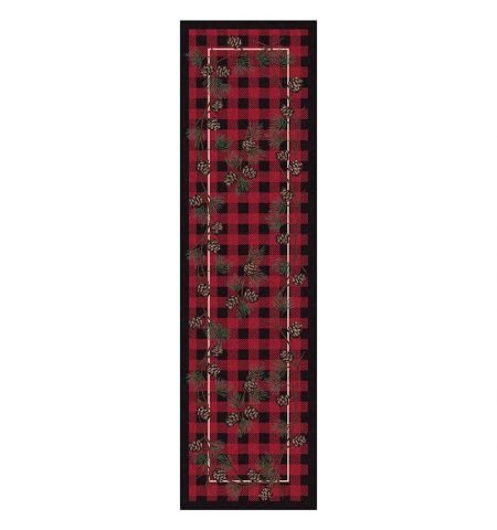 Red plaid cabin runner rug with pine cones pattern