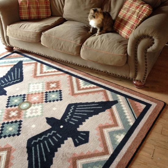 Living room with a cat on a sofa and a southwest rug on a hardwood floor