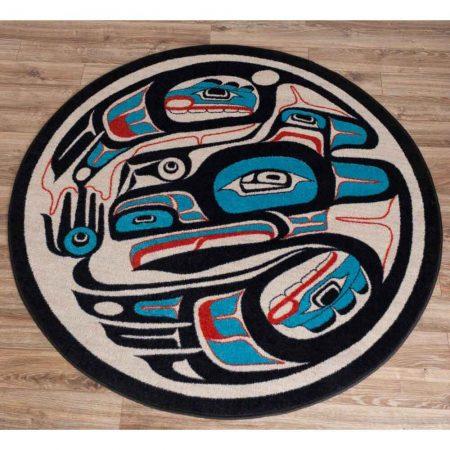 Red and blue Native raven artwork rug design
