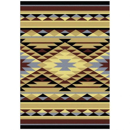 Yellow and blue Southwest area rug