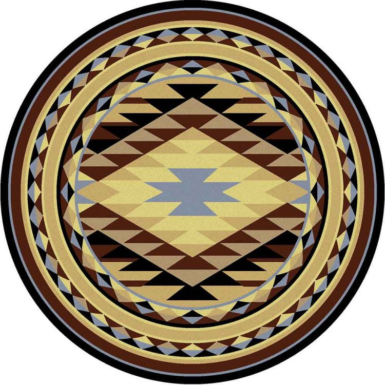 Round area rug with a Southwestern design