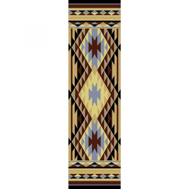 Runner rug with geometric print in yellow, blue, and brown