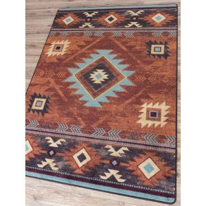 Southwest rug with rich brown and teal patterns