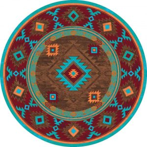 Bright turquoise and brown Southwest area round rug