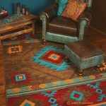 Southwest room scene with leather chair and turquoise and brown area rug
