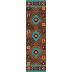 2x8 runner rug in brown and turquoise