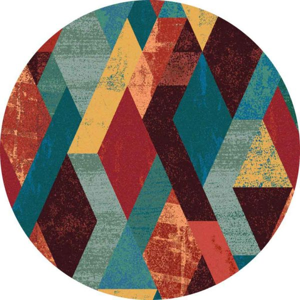 Modern geometric round rug in multi colors